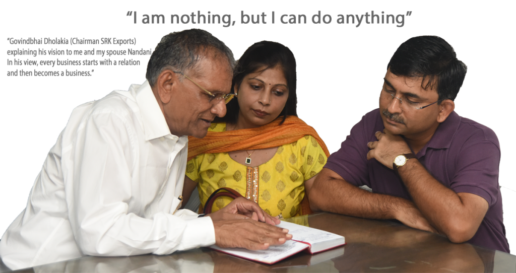 Govindbhai Dholakia (Kakaji) with my spouse Nandani and me, explaining his vision